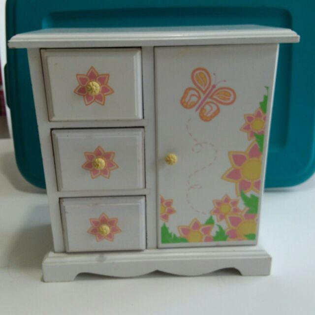 Kids White Painted Wooden Jewelry Chest Box Armoire Butterflies Flowers