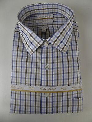 Roundtree /& Yorke Gold Label Non Iron EZ Wash Gingham Plaid Dress Shirt NWT $75