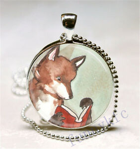 Vintage-Fox-Cabochon-Silver-plated-Glass-Ball-Chain-Pendant-Necklace-d-5