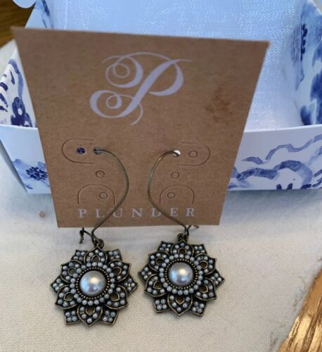 Plunder Design Fashion Vintage Jewelry Antique Pearl Beaded Drop Dangle Earrings