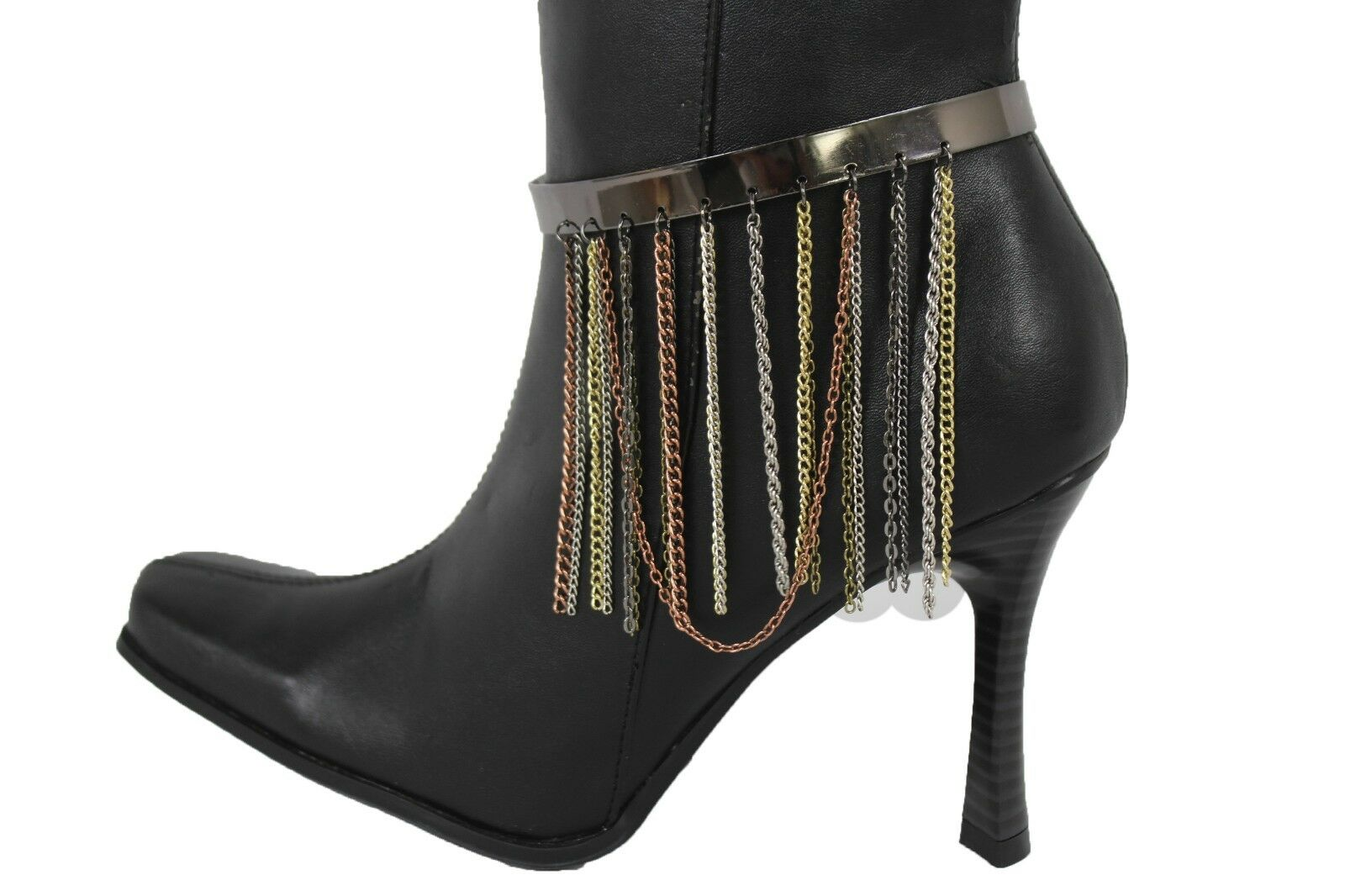 Women Gold Metal Pewter Chain Long Fringes Boot Cuff Bracelet Anklet Shoe Charm