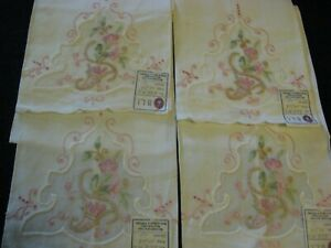 Lot-of-4-Madeira-Pink-Pastel-Embroidered-Guest-Towels-Linen-Organdy-Gorgeous