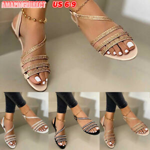 Womens-Ankle-Strap-Flat-Sandals-Buckle-Open-Toe-Rhinestones-Slingback-Shoes-Size