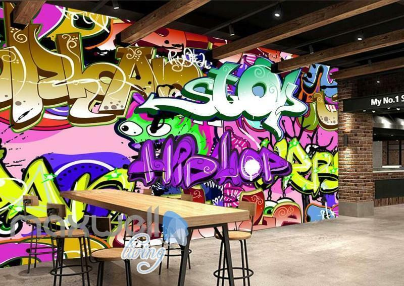 3D Graffiti Hiphop Stop Farbe Letter Wall Murals Wallpaper Decals Prints Decor