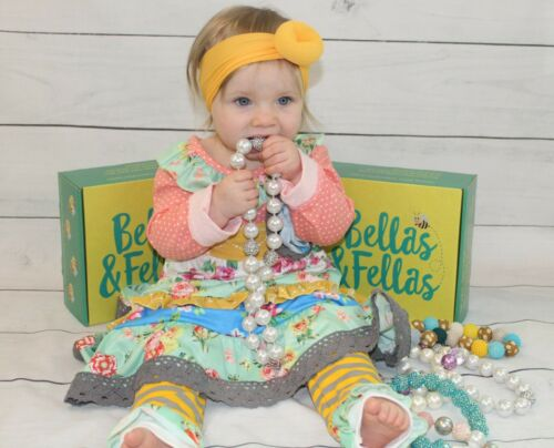 Fall Boutique Outfit ruffle pants garden floral girl baby toddler NEW