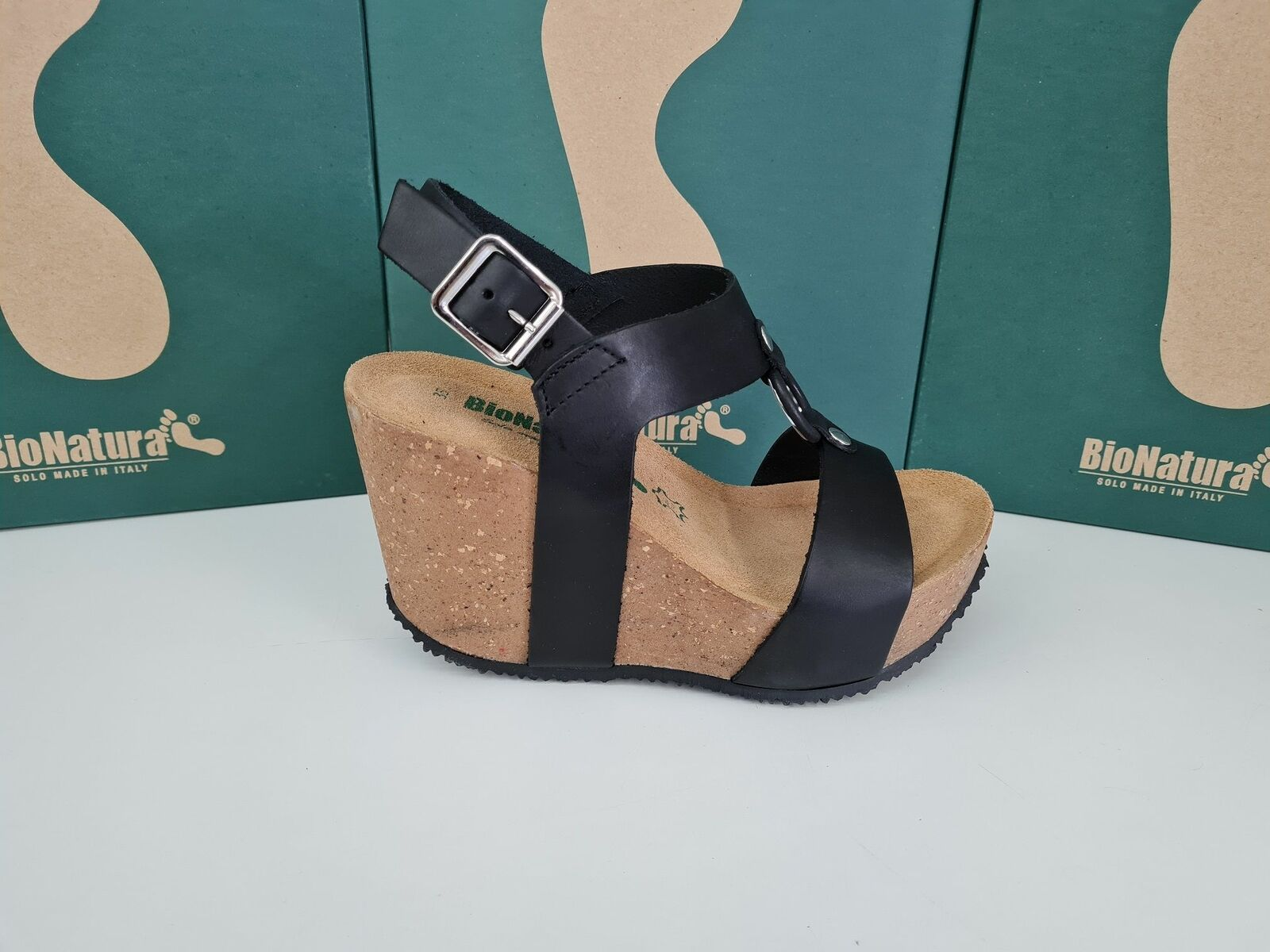 Bionatura Sandale C / Compensé Et Boucle, Femme - Art. 29A2180I-GOINER (Noir)