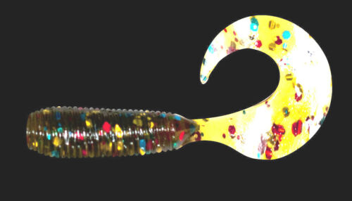 "2/"" show original title Details about  /25 x Grub sickles Relax lures twister 5 CM Black Bass-Trout"