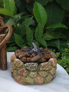 Miniature-Dollhouse-FAIRY-GARDEN-Mini-Stone-Look-Fire-Pit-w-LED-Tealight-NEW