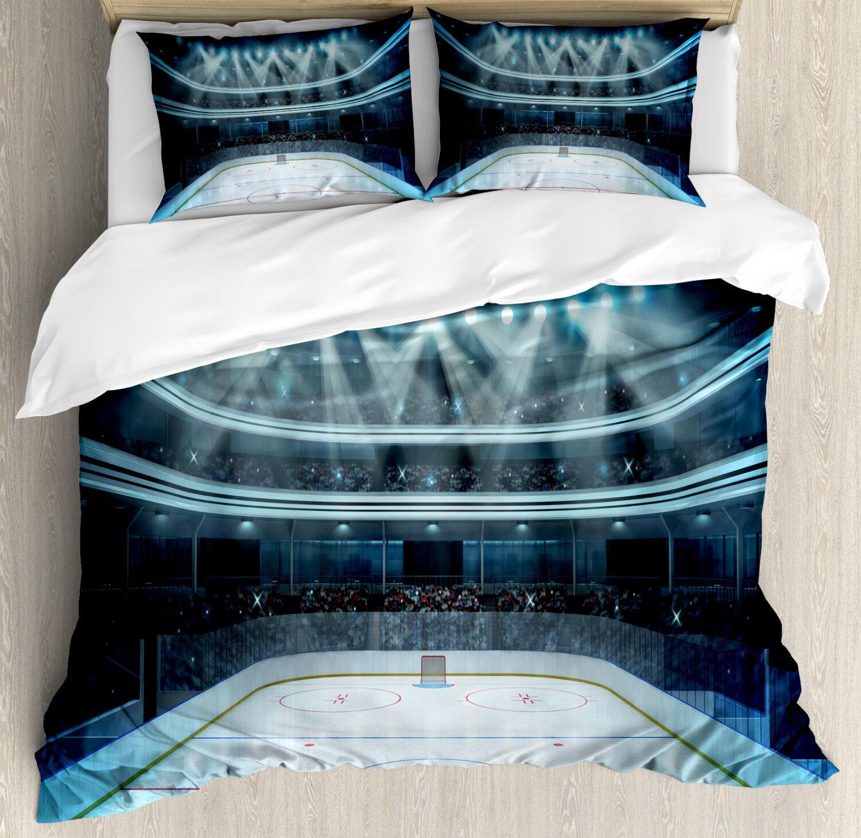 Hockey Duvet Cover Set mit Pillow Shams Sport Arena Fotofans Drucken
