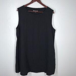 Flax-Women-039-s-100-Linen-Lagenlook-Oversize-Tunic-Tank-Black-Size-Medium