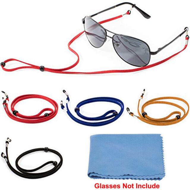 bbf2fa3d63b1 4Pcs Sport U Sunglass Neck Strap Eyeglass Read Glasses Cord Holder + Clean  Cloth