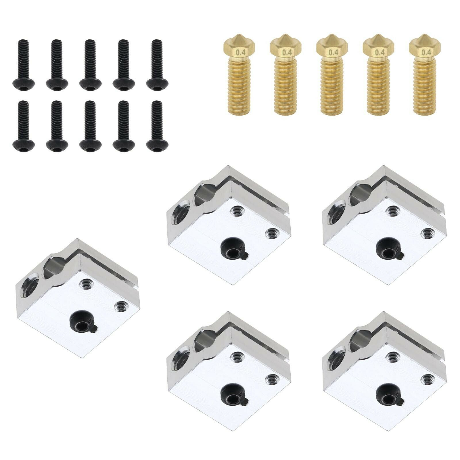 5 Set of Heater Blocks 0.4mm Brass Nozzle Compatible with E3D V6 Volcano