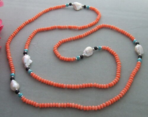 """51/"""" White Keshi Pearl Pink Coral Blue Turquoise Long Necklace"""