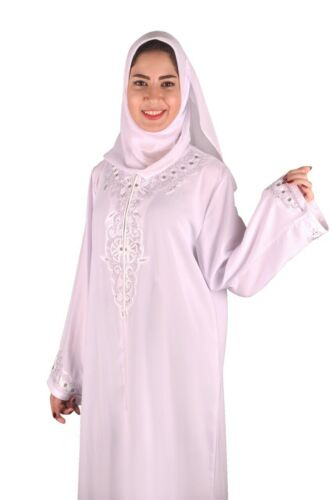 Dubai Abaya im Islamischen Stil Festkleid mit Schleier in weiß ABY00351