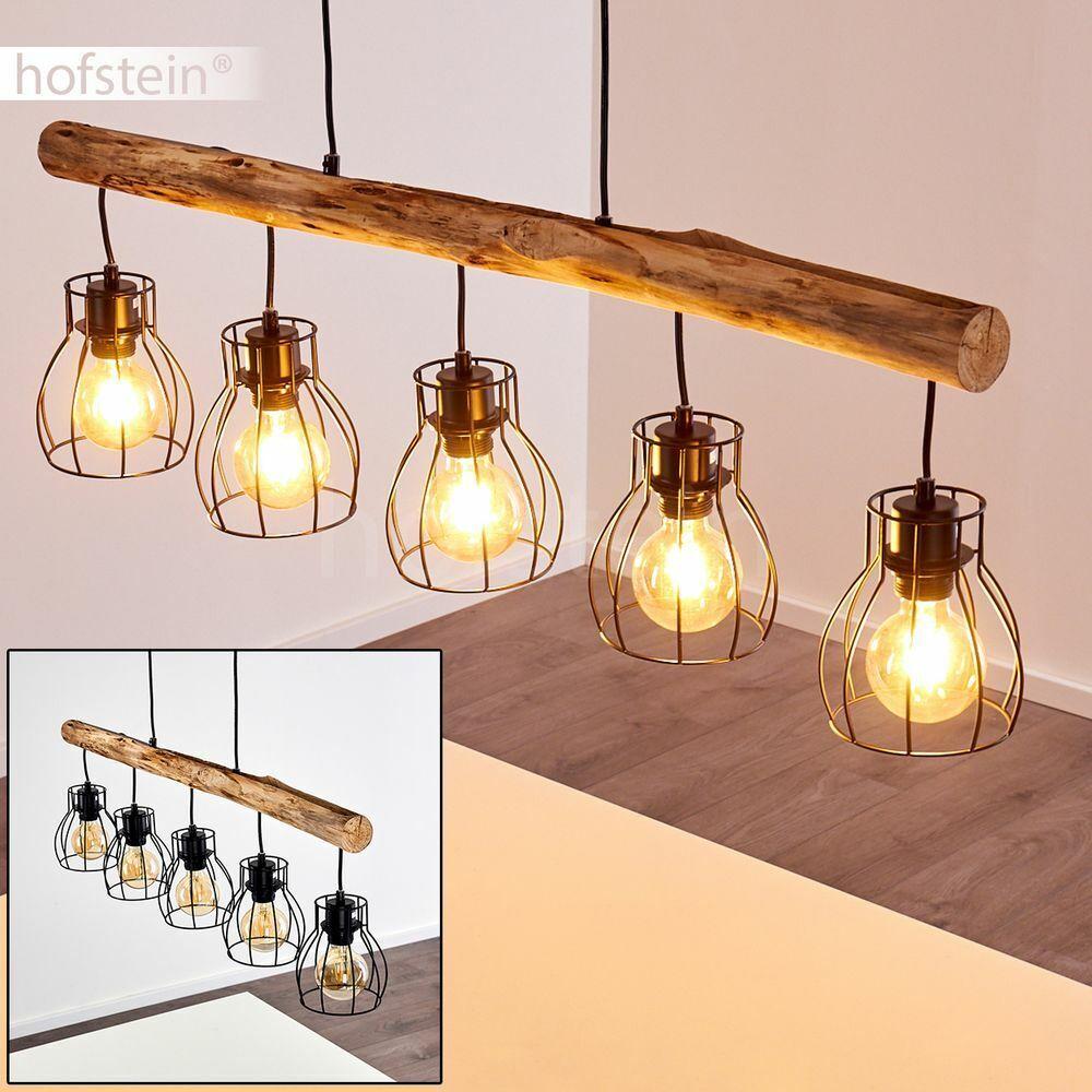 Hänge Lampe Pendel Leuchten schwarz Holz Ess Wohn Schlaf Zimmer Raum Beleuchtung
