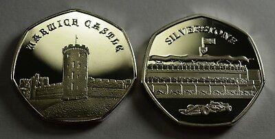 Silverstone Intellective Pair Of Silver Commemorative Coins Warwick Castle Album/50p New