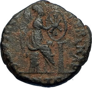 EUDOXIA-Arcadius-Wife-401AD-Authentic-Ancient-Roman-Coin-VICTORY-CHI-RHO-i67723
