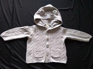 Oshkosh-B-039-gosh-Baby-Boy-Bear-ears-Cardigan-Sweater-Size-18-Months