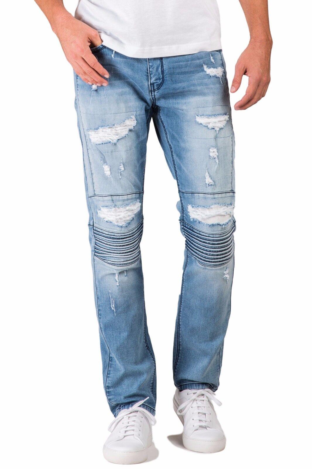 Level 7 Mens Premium Stretch Denim Moto Jeans bluee Slim Tapered Destroyed
