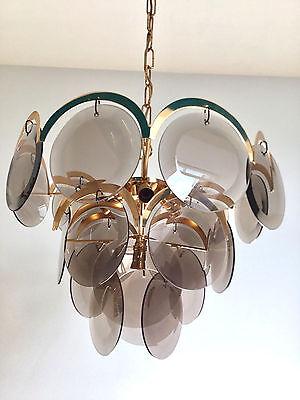 Rare Vistosi Gilt Brass Chandelier Mid Century Modern