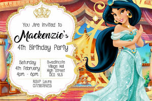 Image Is Loading Personalised Disney Princess Jasmine Birthday Party Invites Inc