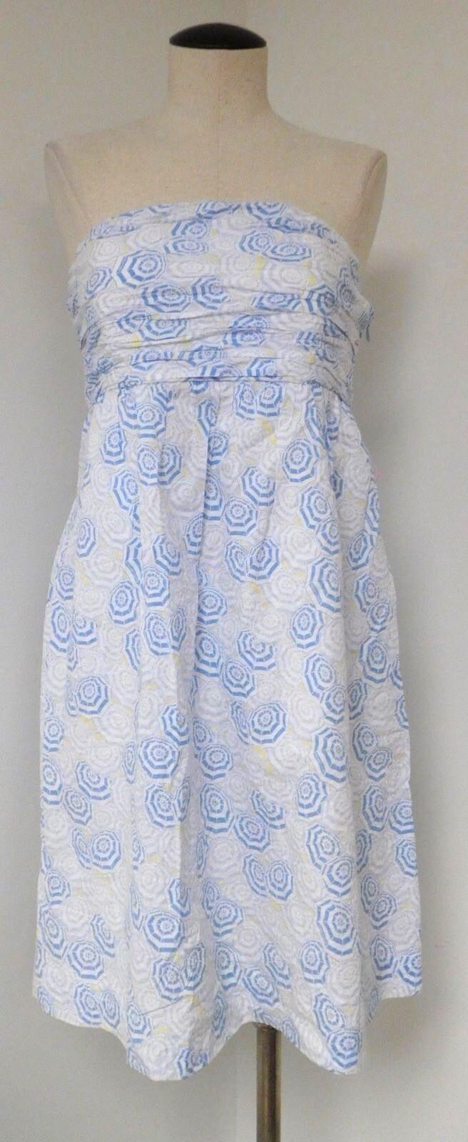 VINEYARD VINES 100% COTTON WHITE & blueE BEACH UMBRELLA STRAPLESS DRESS KNEE LENG