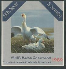 CANADA, # CN-5 WILDLIFE CONSERVATION STAMP BOOKLET 1989, SNOW GOOSE