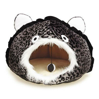 Meow Town King of the Jungle Cat Cave Plush Leopard Hideaway Covered Bed Toy