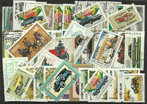 CARS Collection Packet of 50 Different VEHICLES TRANSPORT Stamps Mainly Used