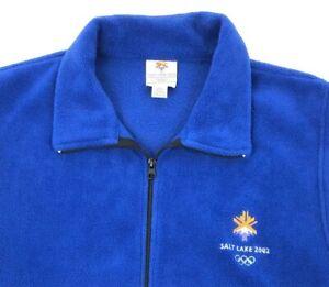 Vintage Olympic Vest L 2002 Salt Lake City UTAH USA Winter Official Fleece Zip