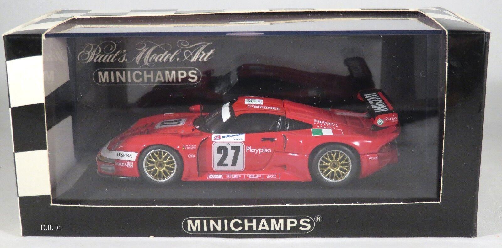Porsche 911 gt1 fishermen Martini BMS SC  Le Mans 1997 Minichamps 1 43