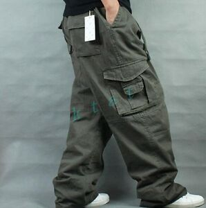 Mens-Loose-Trouser-Cargo-Overalls-Leisure-Baggy-Carpenters-Causal-Long-Pants
