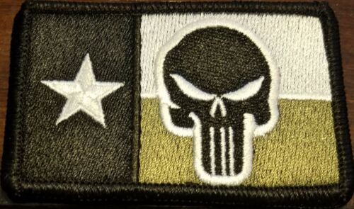 TEXAS State Flag Patch W// VELCRO® Brand Fastener Tactical USA The Punisher #15