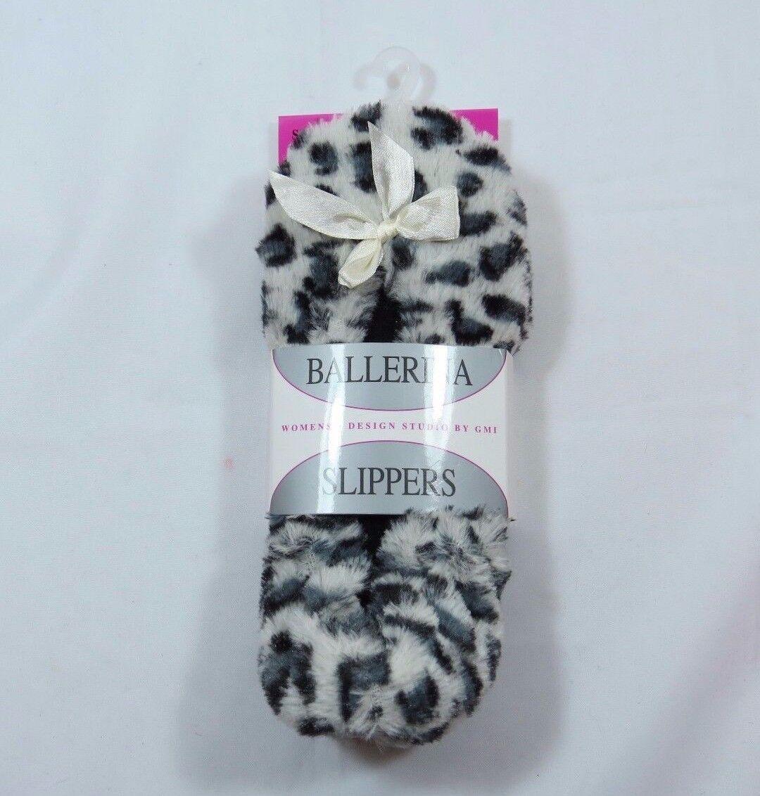 Womans Ballerina Fuzzy Leopard Cheetah No Print Slippers Sz Small No Cheetah Slip Sole WARM dfb6f4
