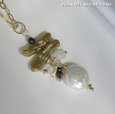 Biwa Perlen Mondstein Spinell Anhänger & 45 cm Kette Gold 585 14K GF Zuchtperlen