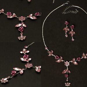 Blumen-Schmuckset-mit-rosa-Strass-in-Rosen-Blumen-Form-Ohrringe-Collier-Kette