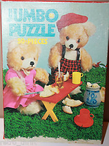 1004 Jumbo Jigsaw Puzzle Two Bears Honey Sandwiches Made in Holland 50 pieces