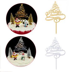 Christmas Cake Toppers Cake Decor Cupcake Santa Claus Dessert Sticks DIY Xmas