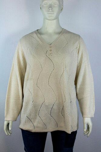 Damen Pullover Strickpulli mit Ajour-Muster beige langarm Gr 54 58 60 64 NEU A24