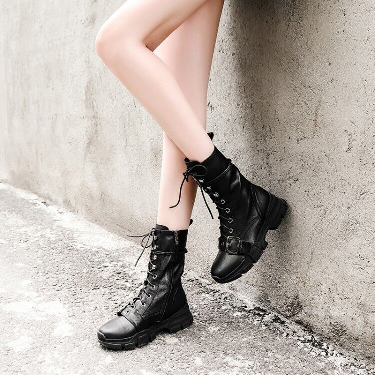 Punk femmes Round Toe Lace up Ankle bottes Buckle Gothic Winter Leather chaussures  sz