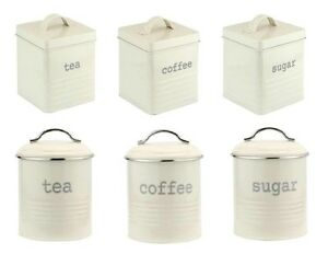 Image Is Loading Vintage Cream Enamel Tea Coffee Sugar Kitchen Storage