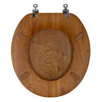Aquasource Oak Durable Chrome Standard Qulaity Metal And Wood Round Toilet Seat