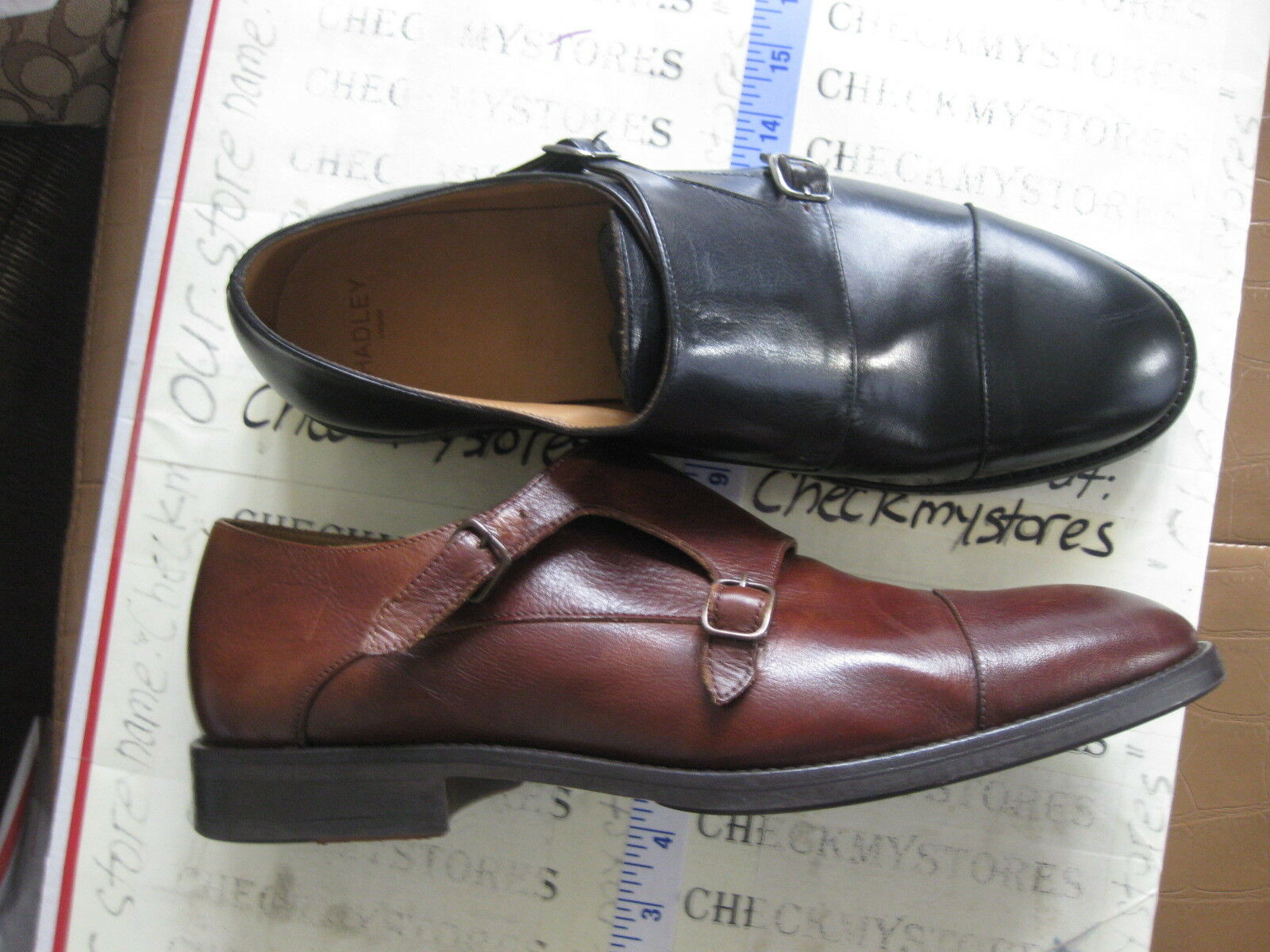 NEW  HADLEY LONDON DOUBLE MONK LEATHER  EUROPEAN DESIGNER SHOES MADE PORTUGAL