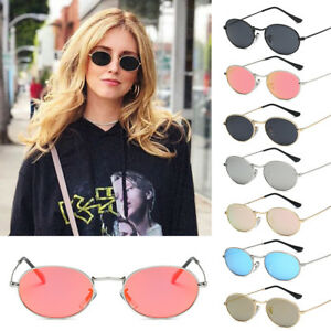 Women Small Oval Sunglasses Retro Red Eyewear Vintage Glasses Gold Metal Frame