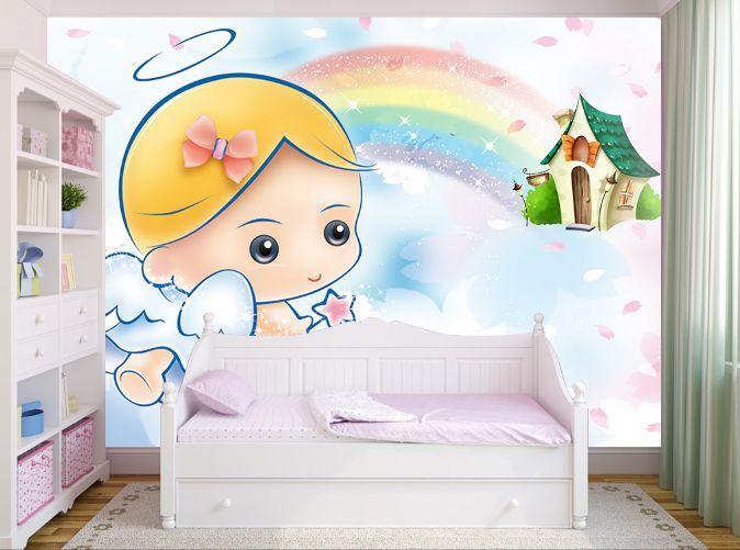 3D Petit Ange 4 Photo Papier Peint en Autocollant Murale Plafond Chambre Art