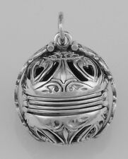 Victorian Style Sterling Silver 6 Photo Ball Locket Pendant w/Figaro Link Chain