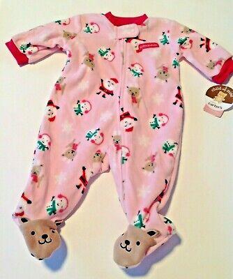 Baby Pajamas My First Christmas Girls 0-3 Month New Carters Newborn Pink Santa