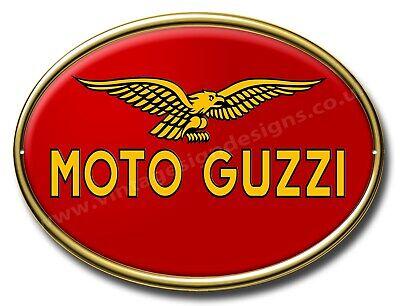 "11/"" X 15/"" GARAGE SIGN MOTO GUZZI MACHINE CUT OVAL METAL SIGN MAN CAVE SIGN."