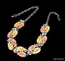 WOW !! 1960's Thermoset Blätter & rosa Strass Choker Collier Halskette