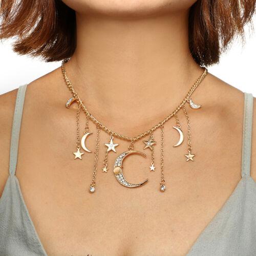 Eg /_ Damen Glänzend Strass Stern Mond Quaste Charm Anhänger Kragen-Halskette
